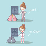 Cute cartoon doctor with lung x-rays Stock Images