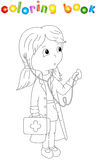 Cute cartoon doctor with a stethoscope. Coloring book for kids Stock Photography