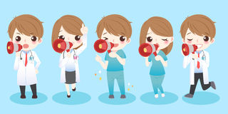 Cute cartoon doctors. Take microphone and smile to you Royalty Free Stock Image