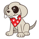 Cute cartoon dog with bone. Vector hand drawn cartoon illustration of a cute friendly dog character with bone in mouth, wearing red neck bandanna with paw print Royalty Free Stock Photos