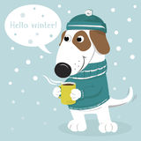 Cute cartoon dog in a cap and sweater and coffee. Stock Photo
