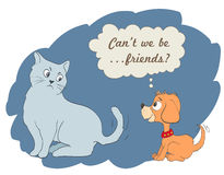 Cute cartoon dog and cat Royalty Free Stock Image