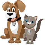 Cute cartoon dog and cat isolated on white Royalty Free Stock Photos