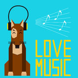 Cute cartoon dog enjoys music in headphones. Simple graphical il vector illustration