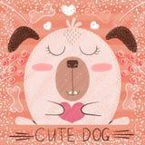 Cute cartoon dog - funny illustration. Hand draw royalty free stock image