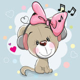 Cute cartoon Dog with headphones Royalty Free Stock Images
