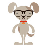 Cute cartoon dog in hipster glasses Stock Photos