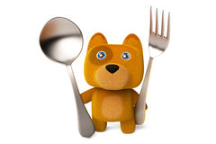 A cute cartoon dog holding a fork and spoon 3D rendering Royalty Free Stock Images
