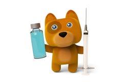 A cute cartoon dog holding a syringe and vaccine 3D rendering. A cute cartoon dog holding a syringe and vaccine,Dog Nurses.3D rendering Royalty Free Stock Photos