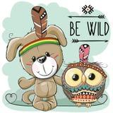 Cute Cartoon dog and owl Stock Image