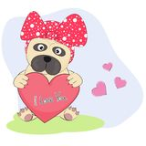 Cute Cartoon Dog pug with heart  an inscription - I Love You. Graphics for t-shirts. Greeting card. Vector illustration Royalty Free Stock Photography