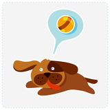 Cute cartoon dog is running and playing - vector i Royalty Free Stock Images