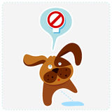 Cute cartoon dog with sign - vector illustration