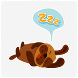 Cute cartoon dog is sleeping - vector illustration Stock Photo