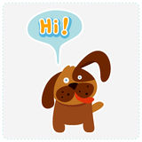 Cute cartoon dog and a speaking bubble - vector illustration Royalty Free Stock Photos