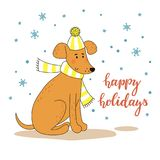 Cute cartoon dog in striped hat and scarf and a hand-written inscription happy holidays. Vector illustration. Stock Photos