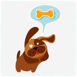 Cute cartoon dog is thinking bone - vector illustration Royalty Free Stock Image