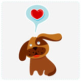 Cute cartoon dog is thinking to love - vector illustration Royalty Free Stock Photos