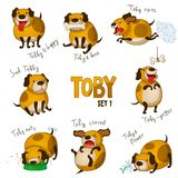 Cute cartoon dog Toby. Set 1 Stock Image
