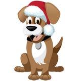 Cute cartoon dog wearing santa hat Royalty Free Stock Photo