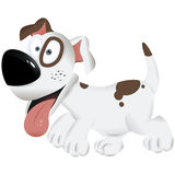 Cute cartoon dog white and brown dog - vector illustration Stock Photos