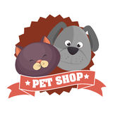 cute cartoon doggy cat pet shop ribbon Stock Photography
