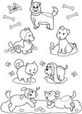 Cute cartoon dogs: coloring page royalty free stock images