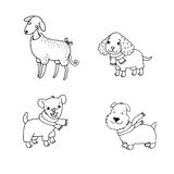 Cute cartoon dogs in winter clothes. Royalty Free Stock Photo