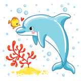 Cute cartoon dolphin. Love Dolphin on a white background. Vector illustration Stock Image