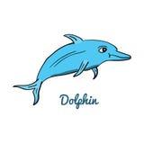 Cute cartoon dolphin. Ocean animal vector illustration. Sea creature in a funny, hand drawn style stock illustration