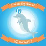 Cute cartoon dolphin Stock Photos