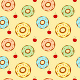 Cute cartoon donuts colorful seamless pattern Stock Photos