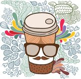 Cute cartoon doodle coffee cup. Royalty Free Stock Photos