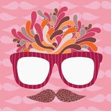 Cute cartoon doodle hipster glasses and mustache Stock Image