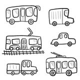 Cute cartoon doodle outline city transport. For kids coloring books. Childish sketchy linear public city transport, car, truck for children educational or fun Stock Images