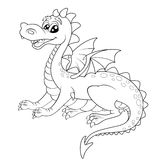 Cute cartoon dragon. Black and white vector illustration for coloring book Stock Photography