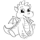 Cute cartoon dragon. Black and white vector illustration for coloring book. Vector illustration Royalty Free Stock Image