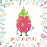 Cute cartoon dragon fruit illustration with flowers & lettering. Cute cartoon dragon fruit illustration with flowers and lettering. Funny character in nice Stock Images