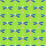 Cute cartoon Dragonflies. Vector seamless pattern. Royalty Free Stock Images
