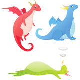 Cute cartoon dragons Stock Photo