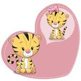 Cute cartoon Dreaming Tiger. Greeting card Cute cartoon Dreaming Tiger on a heart background vector illustration