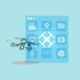 Cute cartoon drone with icon Stock Image
