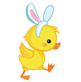 Cute cartoon duckling is depicted in profile in a rabbit costume Stock Photo