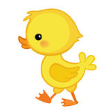 Cute cartoon duckling is depicted in profile. Stock Photos