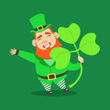 Cute cartoon dwarf Leprechaun with shamrock, symbol of success and luck. Saint Patricks Day fairy tale colorful Royalty Free Stock Photography