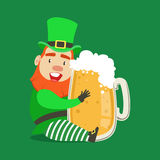 Cute cartoon dwarf Leprechaun sitting with glass mug of fresh beer. Saint Patricks Day colorful character vector Royalty Free Stock Images