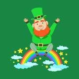 Cute cartoon dwarf Leprechaun sitting on a rainbow. Saint Patricks Day colorful character vector Royalty Free Stock Photo