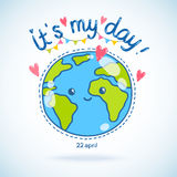 Cute cartoon Earth globe. Earth day background. Royalty Free Stock Photos