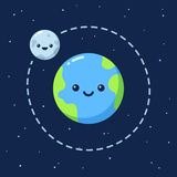 Cute cartoon Earth with Moon. Modern flat style vector illustration Royalty Free Stock Photo