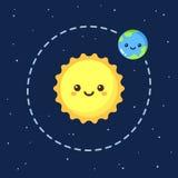 Cute cartoon Earth and Sun. Cute cartoon Earth orbiting around Sun. Modern flat space illustration stock illustration
